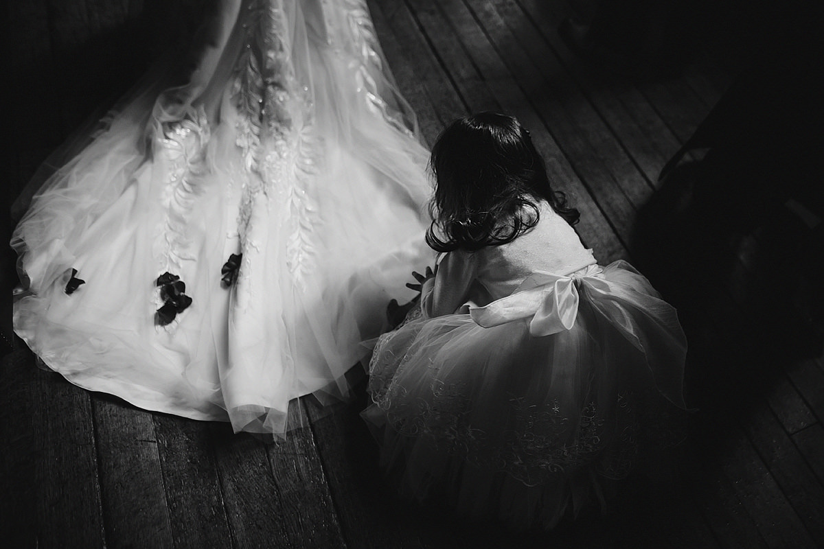 Black and white fine art wedding photo