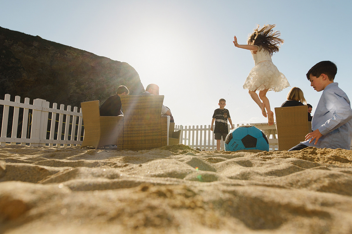 Beach games at a Lusty Glaze wedding