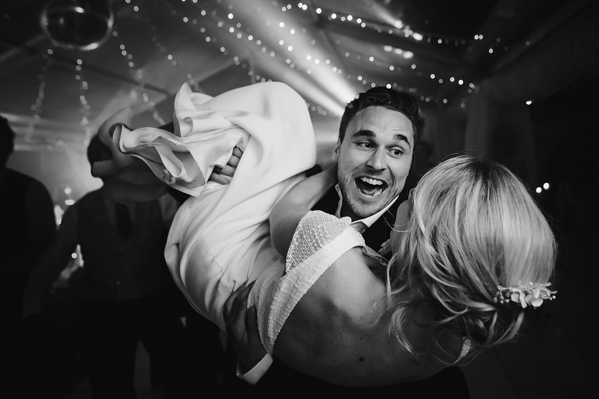 Fun dance floor wedding photo