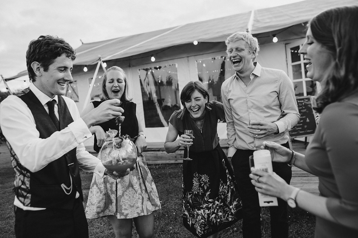 Guests having fun at Cornish Tipi Weddings