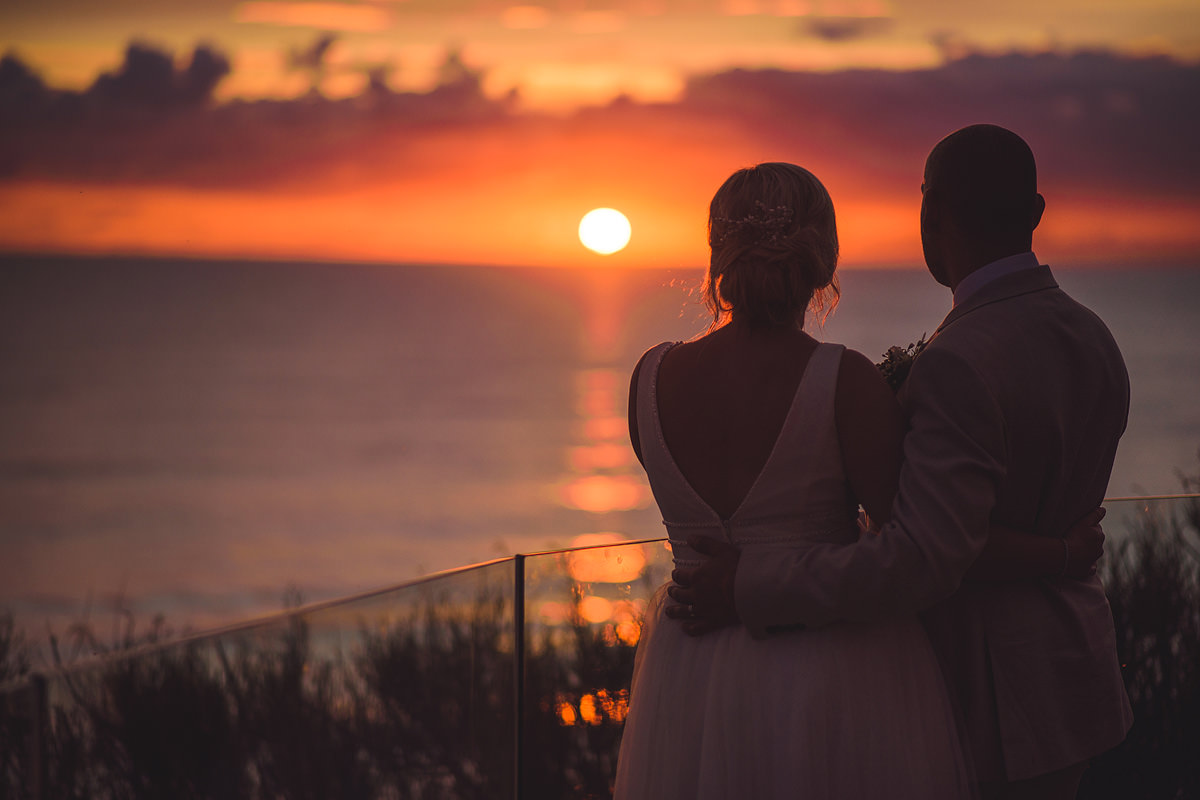 Watergate Bay sunset wedding photo