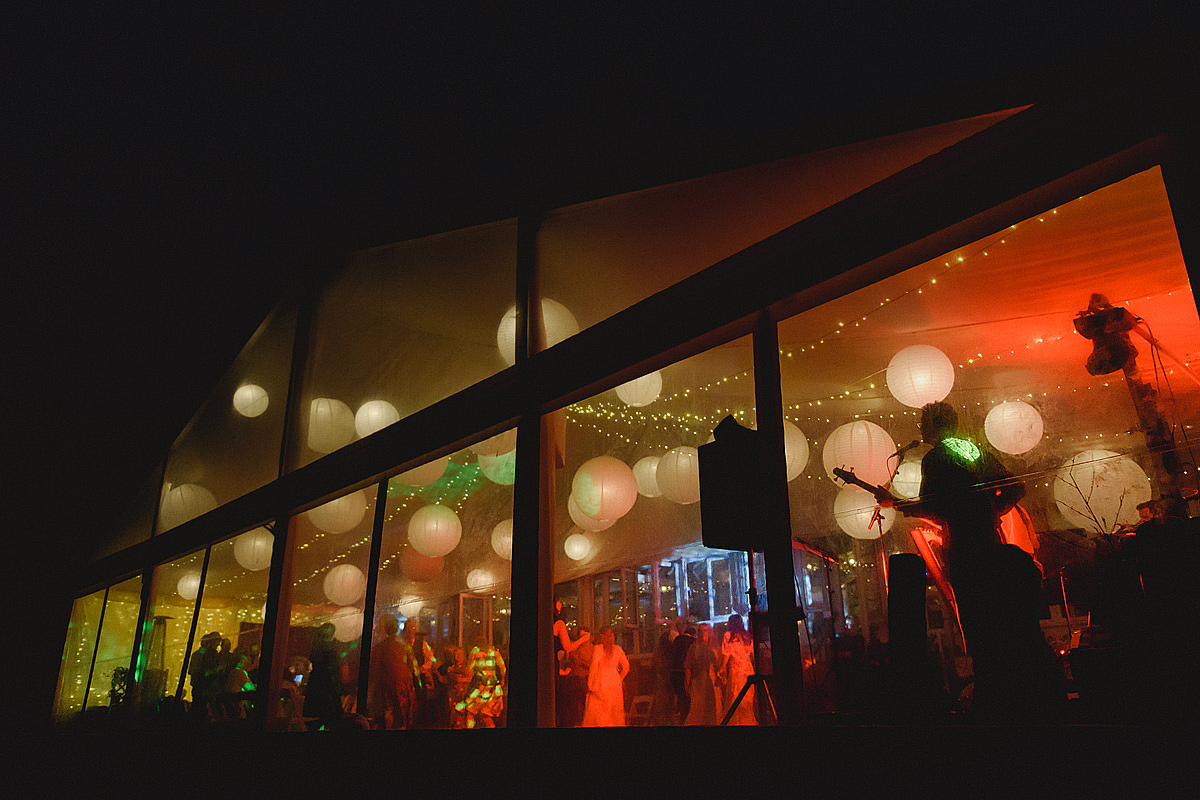 Lusty Glaze Wedding marquee at night