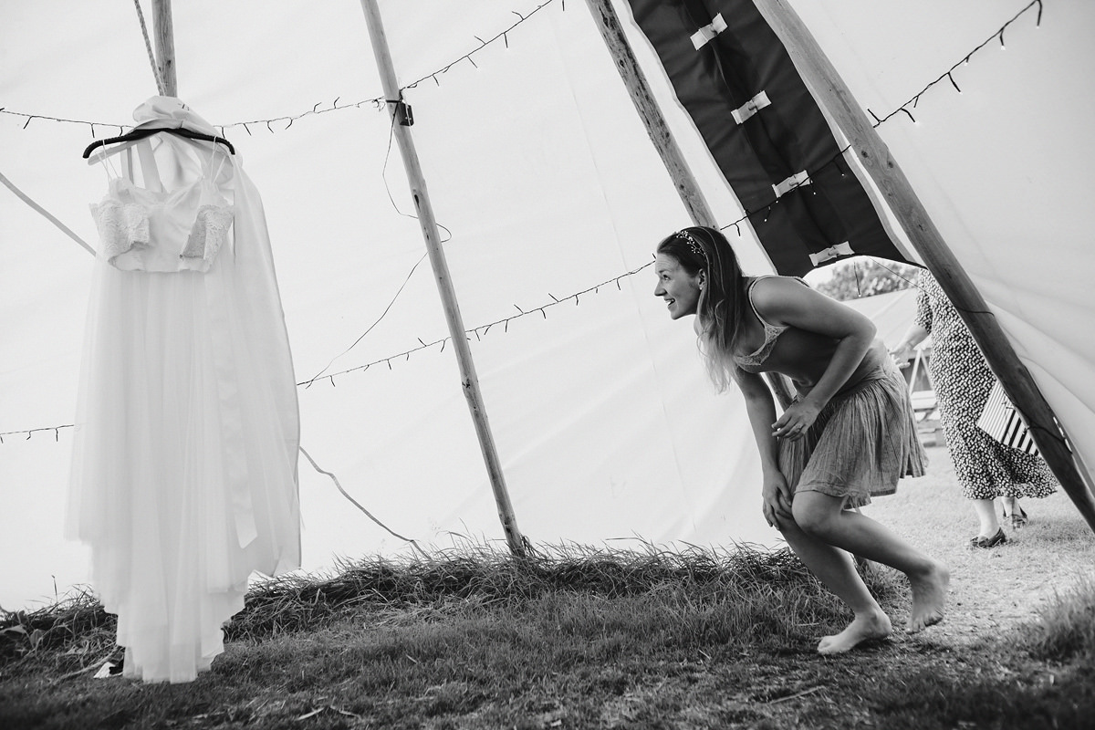 Bride getting ready at Cornish Tipi weddings